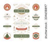 christmas labels and badges... | Shutterstock .eps vector #334658897