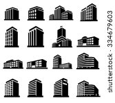 buildings icons vector | Shutterstock .eps vector #334679603