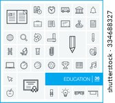 vector thin line icons set and... | Shutterstock .eps vector #334688327