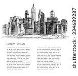 hand drawn city | Shutterstock .eps vector #334689287