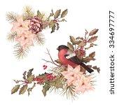 christmas retro watercolor... | Shutterstock . vector #334697777