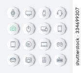 modern gadgets line octagon...