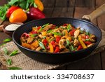 stir fry chicken  sweet peppers ... | Shutterstock . vector #334708637