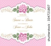 vintage wedding invitation with ... | Shutterstock .eps vector #334721807