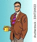 serious businessman boss mug... | Shutterstock .eps vector #334724423