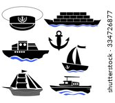 sea ships silhouettes isolated... | Shutterstock . vector #334726877