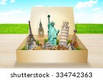 famous monuments of the world... | Shutterstock . vector #334742363