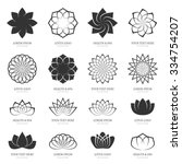 abstract vector lotus flowers... | Shutterstock .eps vector #334754207