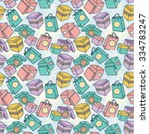 seamless pattern with gift... | Shutterstock .eps vector #334783247