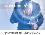 Small photo of Businessman pressing button on touch screen interface and select Government. Business, internet, technology concept.