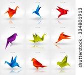 origami paper bird.vector... | Shutterstock .eps vector #334801913