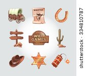 icons for wild west computer... | Shutterstock .eps vector #334810787