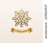 vintage luxury crest logo gold... | Shutterstock .eps vector #334810937