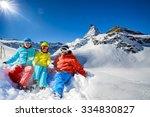 ski  winter  snow   family... | Shutterstock . vector #334830827