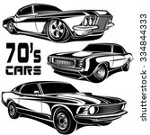 cars muscle 70s vector set | Shutterstock .eps vector #334844333