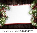 christmas card with fir... | Shutterstock .eps vector #334863023