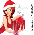 girl in a christmas hat with...   Shutterstock .eps vector #334882463