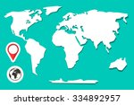 retro paper world map with... | Shutterstock .eps vector #334892957