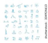 yoga silhouette. set of  design ... | Shutterstock .eps vector #334924613