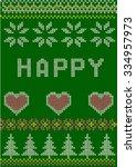 christmas knitted pattern ... | Shutterstock .eps vector #334957973
