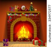 christmas fireplace in interior ... | Shutterstock .eps vector #334972577