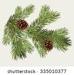 vector branch of christmas tree ... | Shutterstock .eps vector #335010377