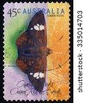 Small photo of AUSTRALIA - CIRCA 1998: A stamp printed in Australia shows the Common Redeye (Matapa Aria), Butterflies series, circa 1998