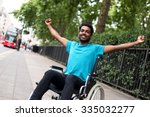 disabled man in a wheelchair... | Shutterstock . vector #335032277