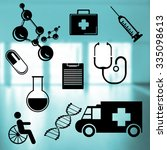medical icons set  on abstract... | Shutterstock . vector #335098613