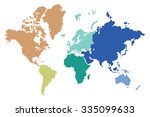 world map colored continents | Shutterstock .eps vector #335099633