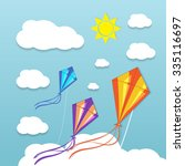 three kites in the cloudy sky.... | Shutterstock .eps vector #335116697