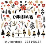 christmas set of plants with... | Shutterstock .eps vector #335140187