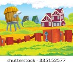 cartoon farm scene  ... | Shutterstock . vector #335152577