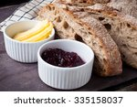 freshly baked sour dough rye... | Shutterstock . vector #335158037