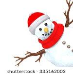 cheerful christmas snowman...   Shutterstock . vector #335162003