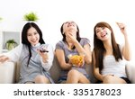 happy young woman group  eating ... | Shutterstock . vector #335178023