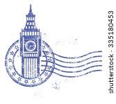 grunge round stamp with big ben ... | Shutterstock .eps vector #335180453