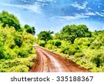 Red Clay Road Among Forest...