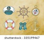 marine symbols   illustration | Shutterstock .eps vector #335199467