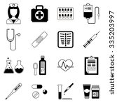 set of medical black vector... | Shutterstock .eps vector #335203997
