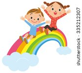 rainbow and child | Shutterstock .eps vector #335212307