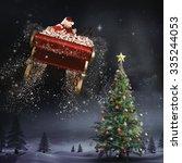 santa flying his sleigh against ... | Shutterstock . vector #335244053