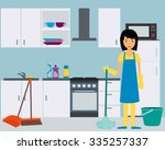 housewife washes kitchen. woman ... | Shutterstock .eps vector #335257337