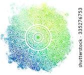 mandala over colorful... | Shutterstock .eps vector #335276753