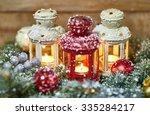 Burning Lanterns With Christma...