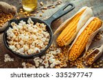 Prepared Popcorn In Frying Pan...