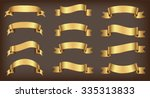 ribbon banner set.golden... | Shutterstock .eps vector #335313833