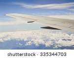 Small photo of View of cloudscape and airplane wing during air travel