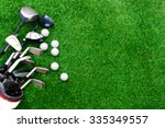 golf ball and golf club in bag... | Shutterstock . vector #335349557