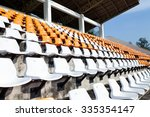 orange and white bleachers at... | Shutterstock . vector #335354147